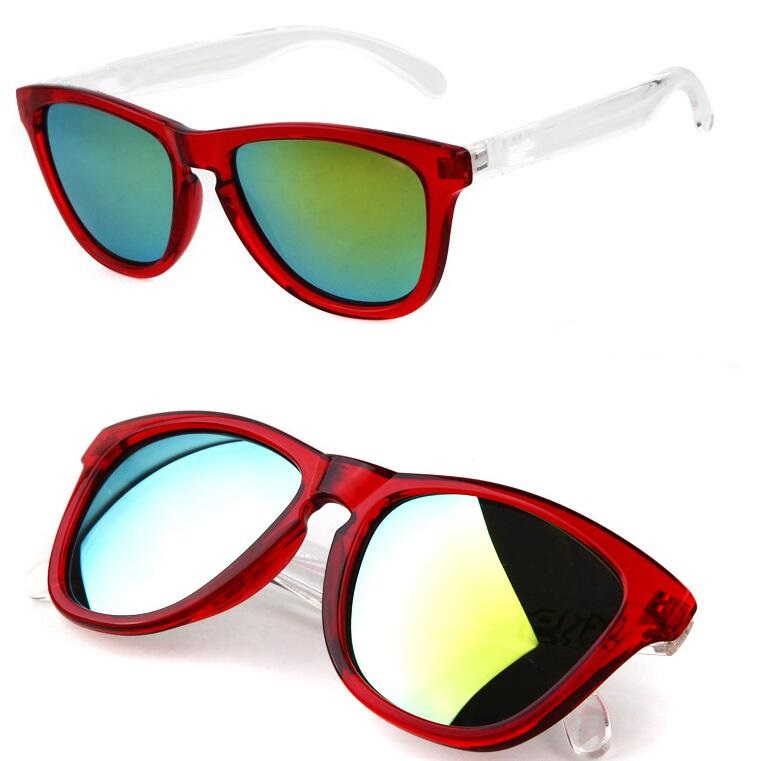 red frame white arms frogskin style sunglasses